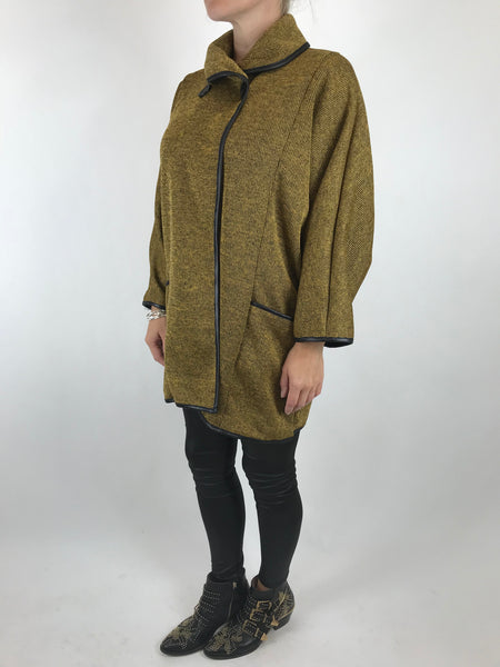 Lagenlook Peggy Made In Italy Cardi-Coat in Mustard. code 5460