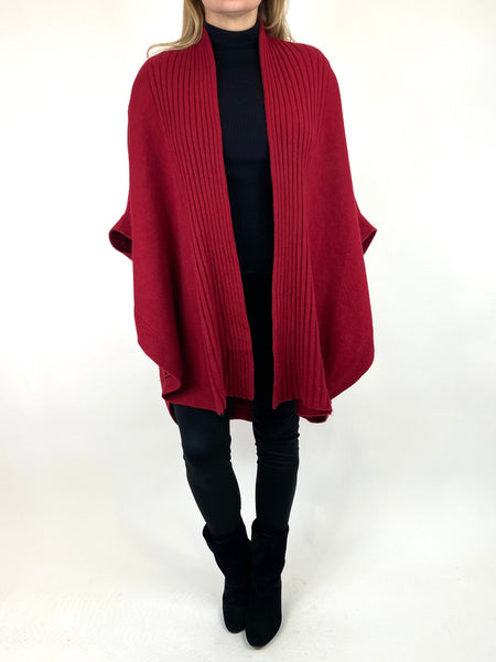 Lagenlook Perry Cable Edge Knitted Cardigan in Wine. code 2728 - Lagenlook Clothing UK