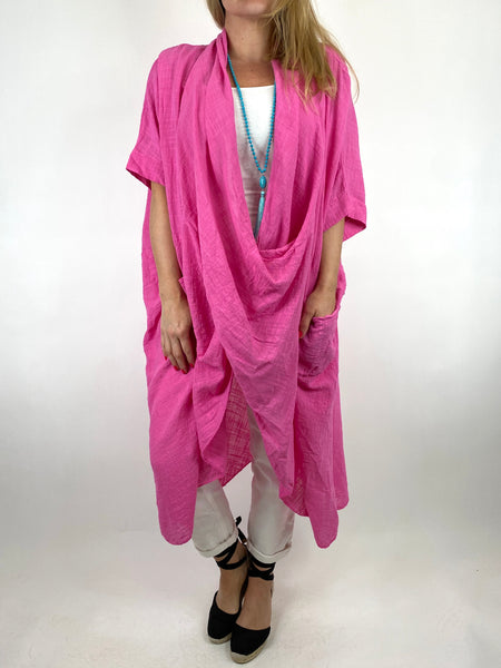 Lagenlook Cotton Wrap Dress Top in Fuchsia. code 8307