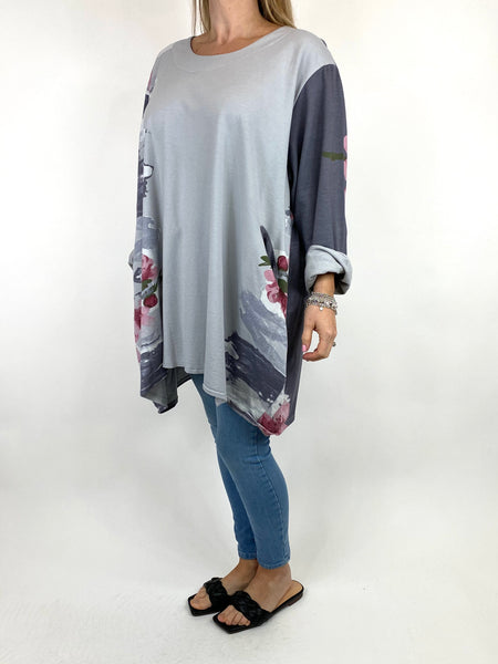 Lagenlook Hetty Flower Top in Charcoal. code 90646 - Lagenlook Clothing UK