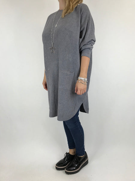 Lagenlook Joanna Bow back jumper in Grey. code 5923