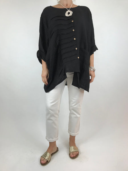 Lagenlook Lucie Button Linen Top in Black. code 5671