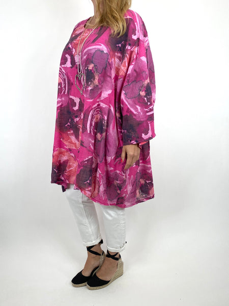 Lagenlook Iris Watercolour Flower Top in Fuchsia. code 91006WC