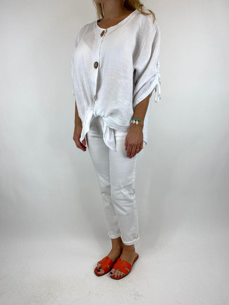 Lagenlook Wexford Button Linen Tie top Jacket in White. code 1279