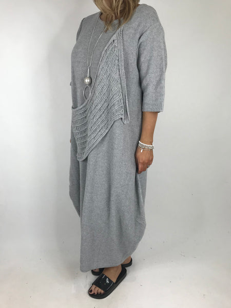 Lagenlook Nina Summer Knit Tunic in Pale Grey  .code 2111