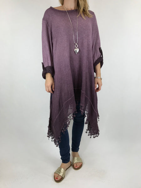 Lagenlook Bea Cotton Wash Colour Jumper in Purple. code 5981