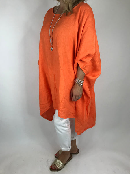 Lagenlook Vera Linen Poncho Top in Orange .code 8956