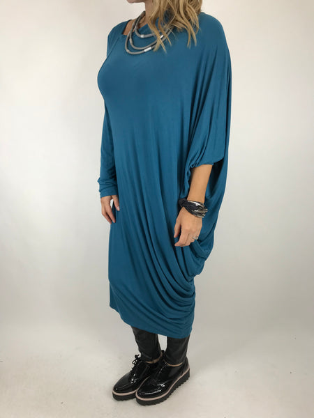 Lagenlook Quirky Angled Jersey Tunic In Teal. code 9941