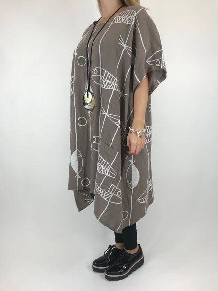 Lagenlook Sarbo Quirky Patterned Top in Mocha . code 39114