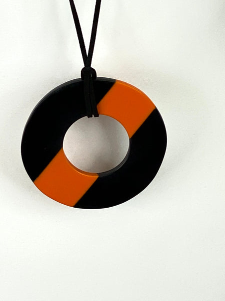 Lagenlook Orange & Black Disc  Necklace code A0855c