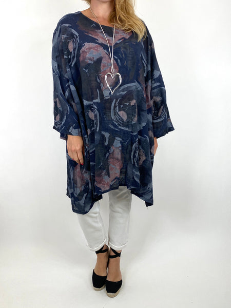 Lagenlook Iris Watercolour Flower Top in Navy.code 91006WC