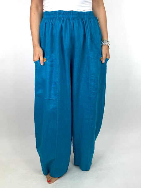 Lagenlook Eliza Wide leg Linen Trousers in Teal. code 6503