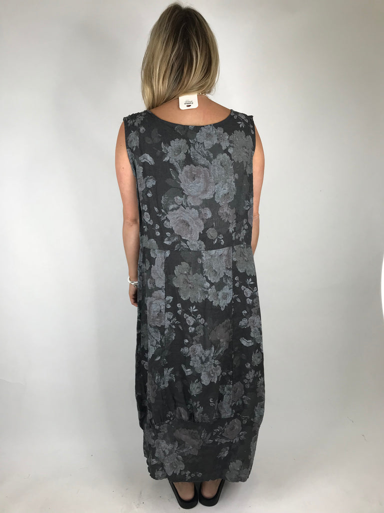 Lagenlook Emily Square neck linen Flower Print Dress in Charcoal Grey.code 5697