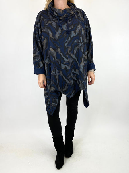 Lagenlook Animal Print Cowl Top in Navy. code 50002 - Lagenlook Clothing UK