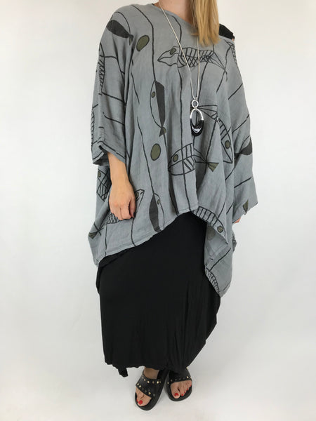 Lagenlook Linen Quirky Print Poncho Top in Grey. Code 18057
