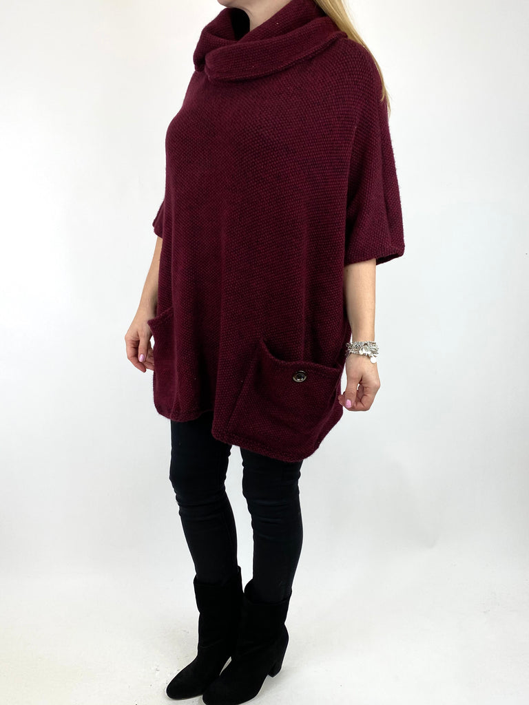 Lagenlook Tilly Button Pocket Cowl Top in Wine. code 7553 - Lagenlook Clothing UK