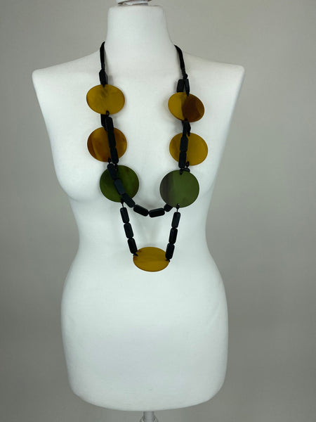 Lagenlook Statement Black & Yellow, Green Pebble Necklace .Code BC-116
