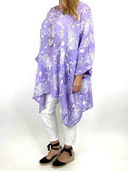 Lagenlook Rachel Flower Top In Lilac. code 6363