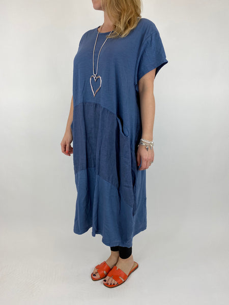 Lagenlook Layla Linen Panel Tee Tunic in Denim. code 90301
