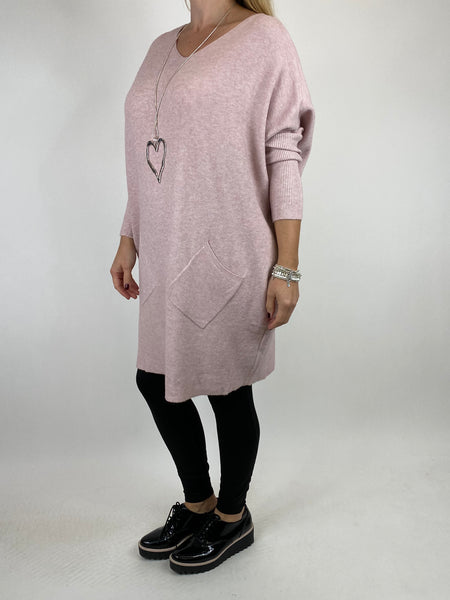 Lagenlook Diana V-neck Angled Pocket Jumper in Winter Pink. code 922