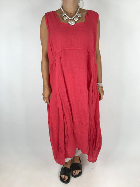 Lagenlook Square neck Linen Tunic Dress Top in Coral. code 5698