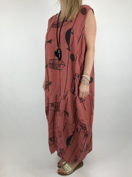Lagenlook Jorda Linen Quirky Sleeveless Patterned Tunic in Dark salmon. code 18340