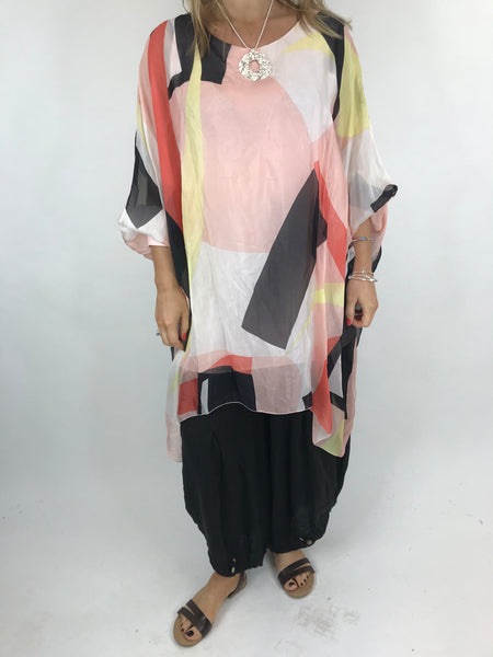 Lagenlook Block Colour Silk in Pale pink. code 1727b