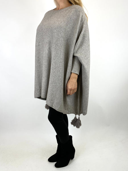 Lagenlook Ella Tassel Jumper in Cream Stone. code 2700 - Lagenlook Clothing UK