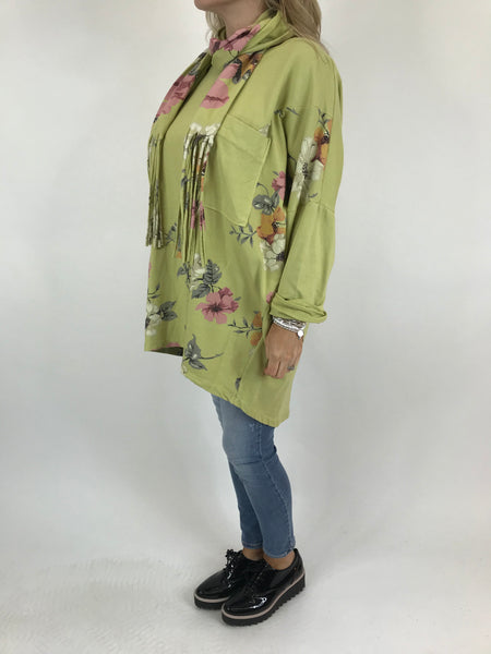 Lagenlook Sammy Flower Panel Scarf Top in Lime. code 5599