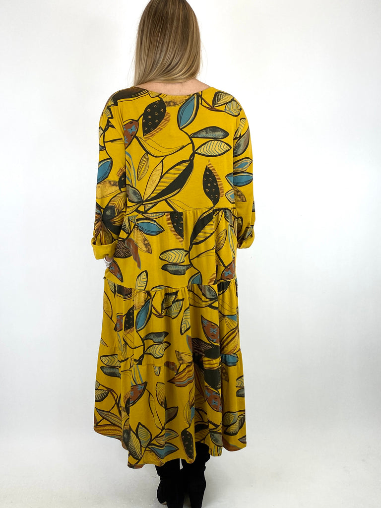 Lagenlook Amy Winter Leaf Midi Tunic Mustard. code 9788 - Lagenlook Clothing UK