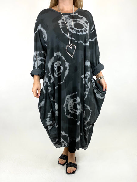 Lagenlook Celeste Tie-dye Side Pocket Tunic in Charcoal.code 9904 - Lagenlook Clothing UK
