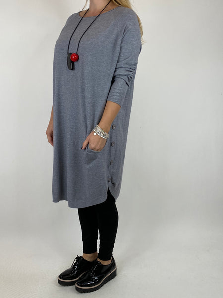 Lagenlook Amelie Button Side Jumper in Grey. code 2560 - Lagenlook Clothing UK