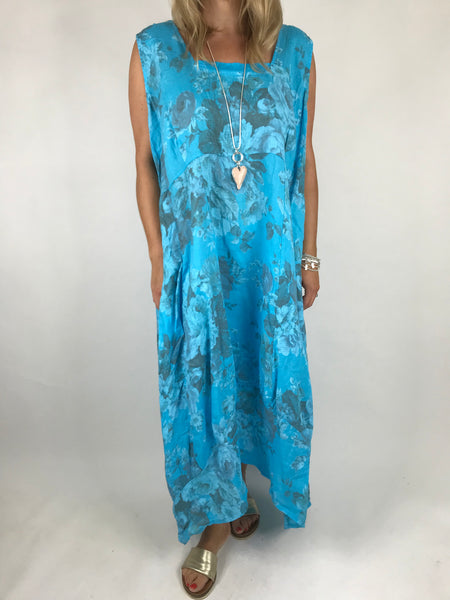 3f6b50583b7 Lagenlook Emily Square neck linen Flower Print Dress Aqua Blue. code 5697  ...