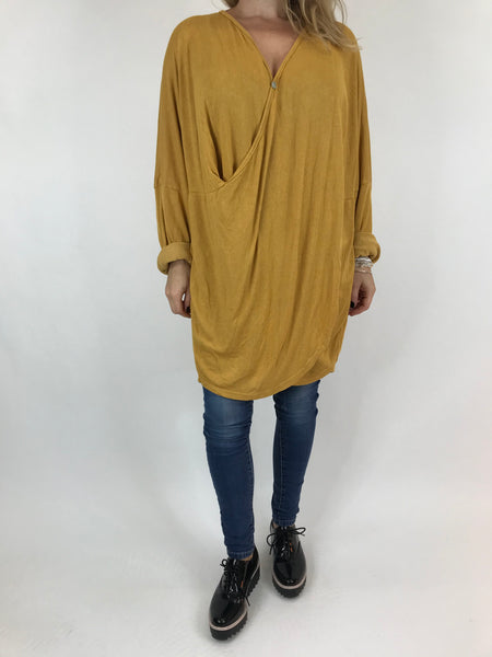 Lagenlook Katie Cross-over Button Jumper in Mustard. code 2093