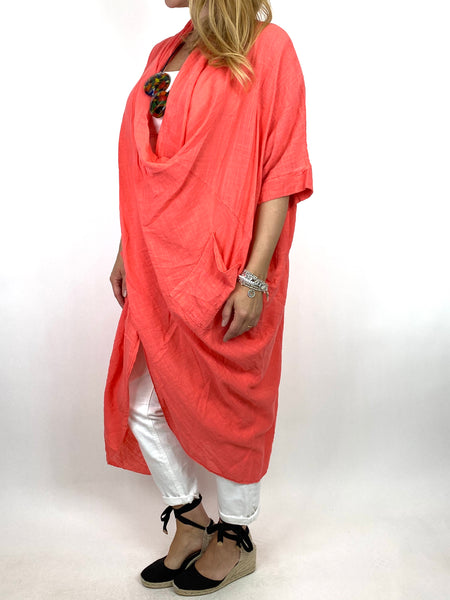 Lagenlook Cotton Wrap Dress Top in Coral . code 8307 - Lagenlook Clothing UK