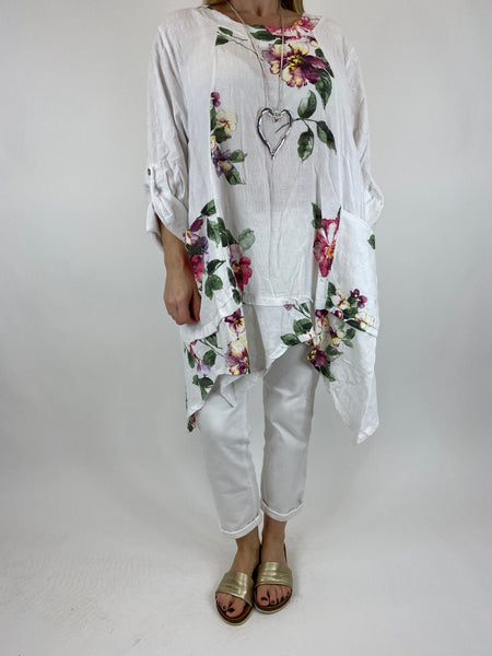 Lagenlook Cotton Flower panel top in White. code 92201