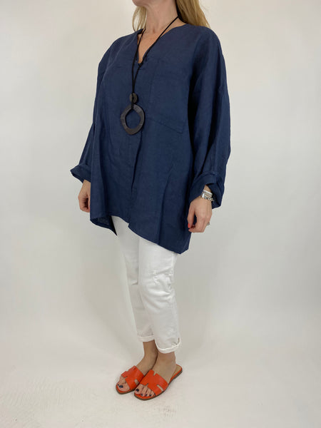 Lagenlook Ava Linen V- Neck Top in Navy. code 10297