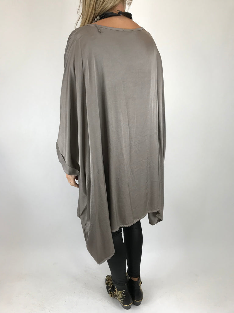 Lagenlook Zen Satin Poncho Top in Mink. Code 461sat