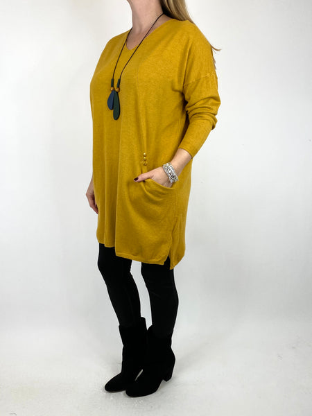 Lagenlook Tib Three Button Detail Jumper in Mustard. code 2606 - Lagenlook Clothing UK