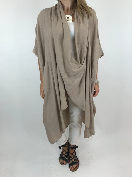 Lagenlook Cotton Wrap Dress Top in Sand. code 4990