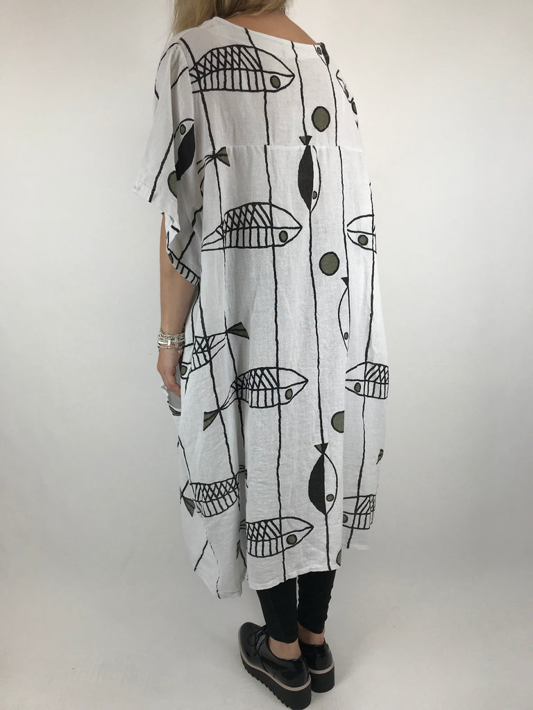 Lagenlook Linen Blend Quirky Patterned Tunic in White. code 39113