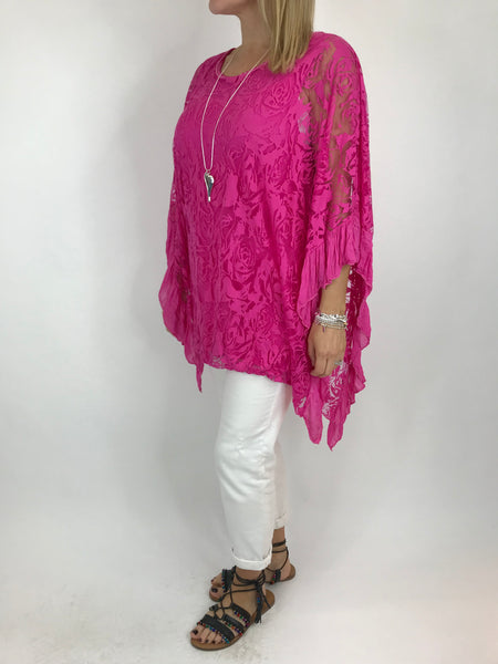 Lagenlook Flower Burn-out Frill Top in Fuchsia Pink. code 18226