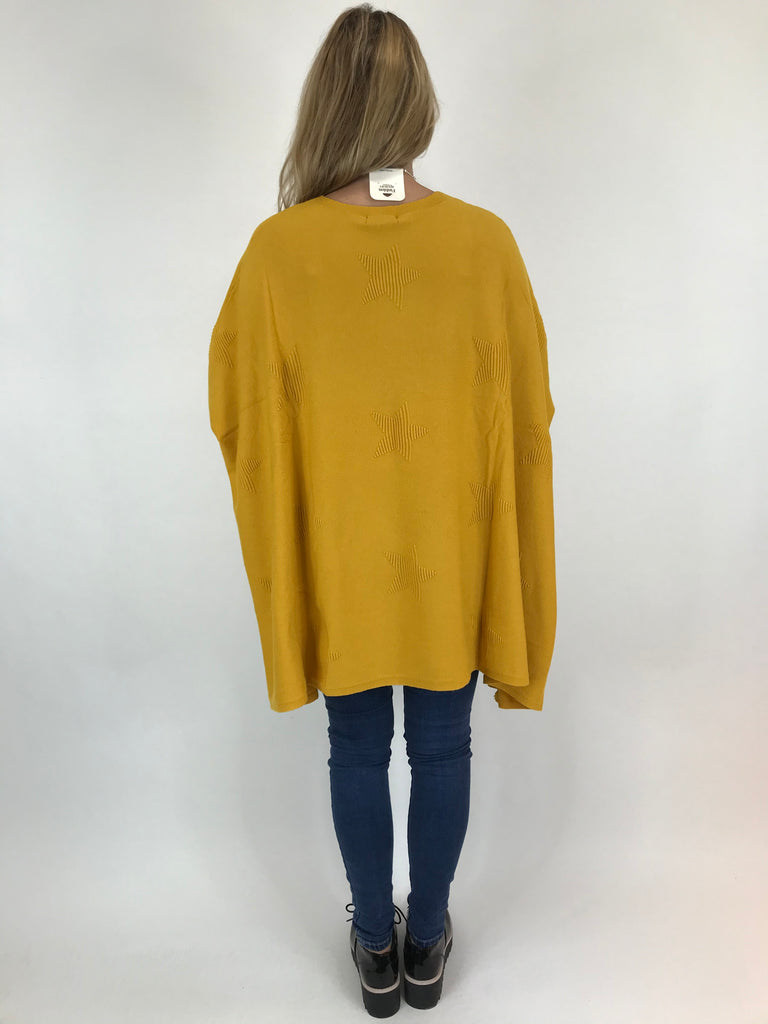 Lagenlook Calia Star Poncho Knit in Mustard. code 47352