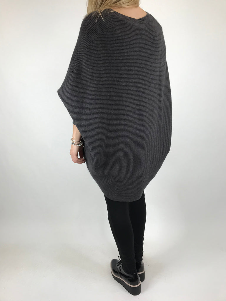 Lagenlook Oxford V-Neck Rib Jumper in Charcoal. code 6029