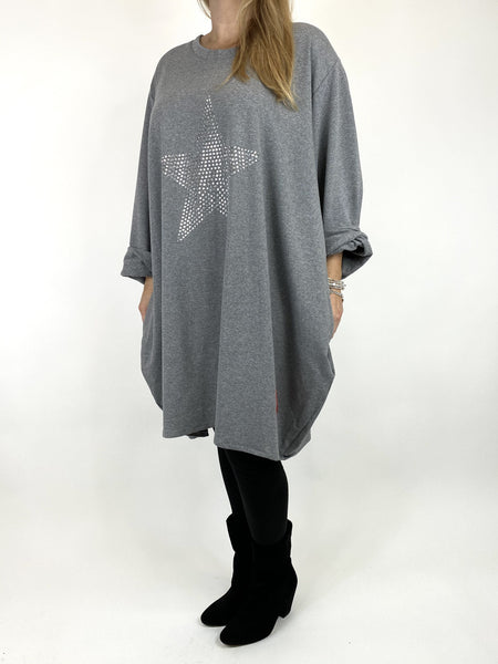 Lagenlook Stud Star Sweatshirt Top in Grey. code 91199 - Lagenlook Clothing UK