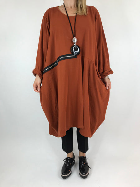 Lagenlook Canham Cotton Zip Side tunic in Rust. code 9429