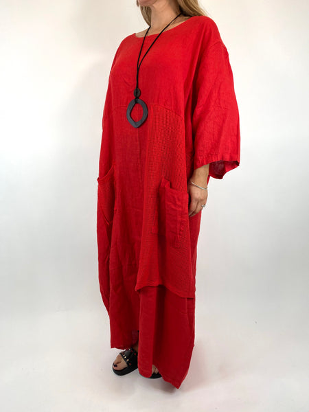 Lagenlook Emma Mesh Panel Linen Tunic in Red. code 87001