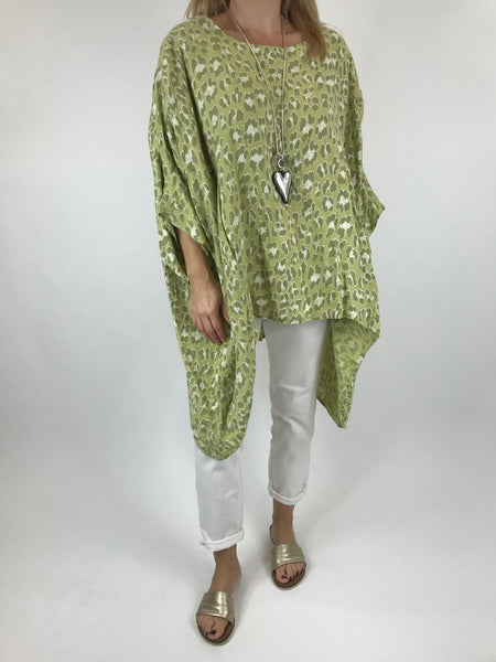 Lagenlook Animal Print Linen Poncho in Lime. code 52144
