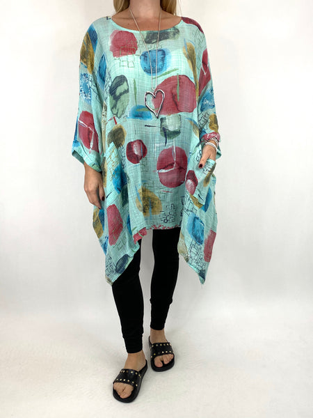 Lagenlook Gabby Patterned Top in Mint. code 6207