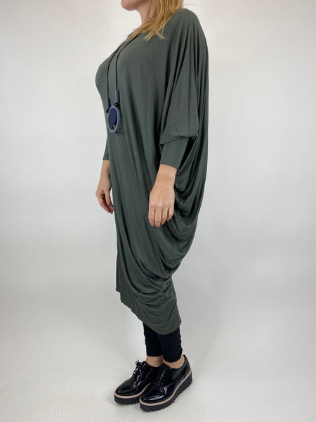 Lagenlook Quirky Angled Jersey Tunic In Khaki. code 9941